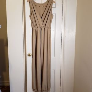Ashley Stewart: Sleeveless Beige Jumpsuit- NWT